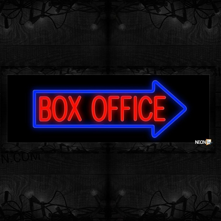Image of Box Office In Red With Blue Arrow Border Neon Sign