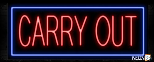 Image of 11370 Carry Out in red with blue border Neon Sign_13x32 Black Backing