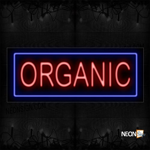 Image of Organic In Red With Blue Border Neon Sign