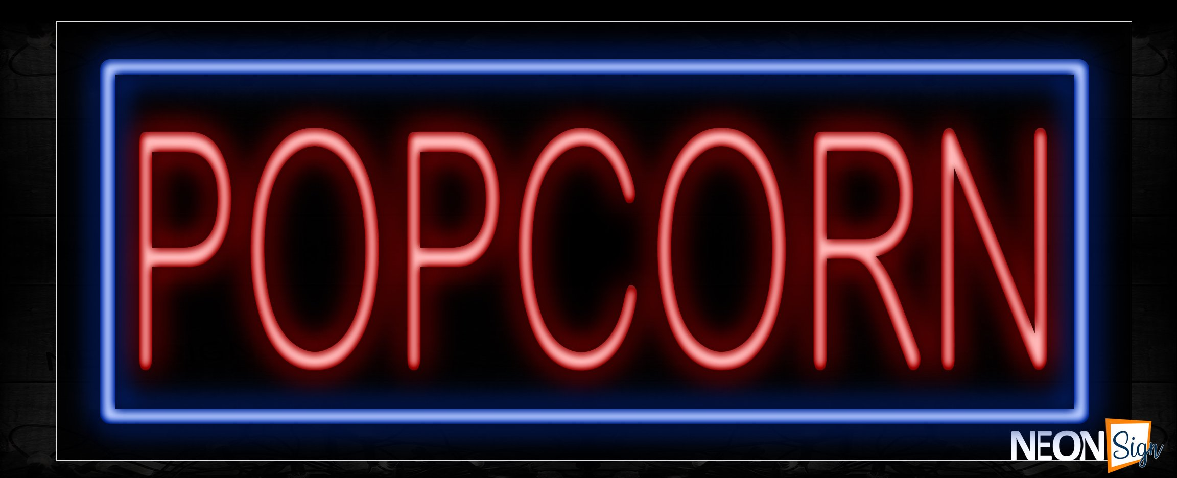 Image of Popcorn In Red With Blue Border Neon Sign