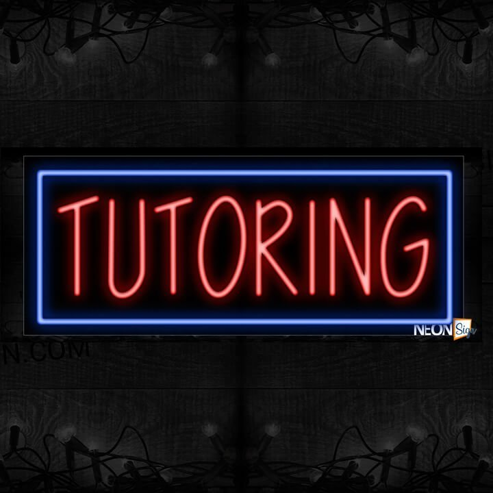 Image of Tutoring With Blue Box Neon Sign