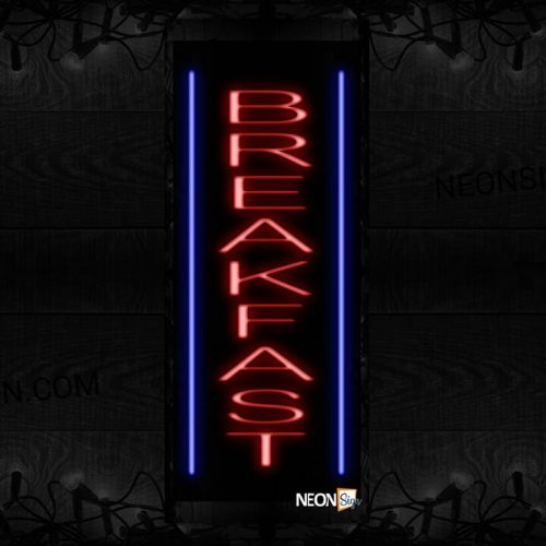 Image of 11526 Breakfast with blue lines (Vertical) Neon Sign_32 x12 Black Backing