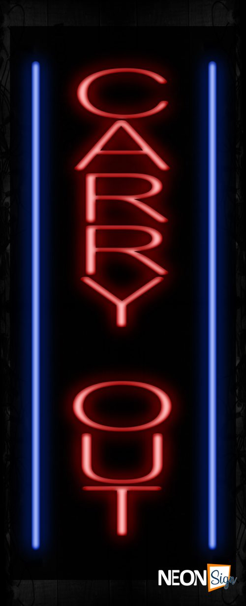 Image of 11529 Carry Out with blue lines (Vertical) Neon Sign_ 32x12 Black Backing
