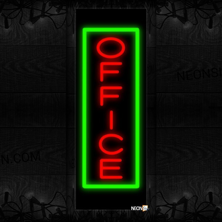 Image of Office In Red With Green Border (Vertical) Neon Sign