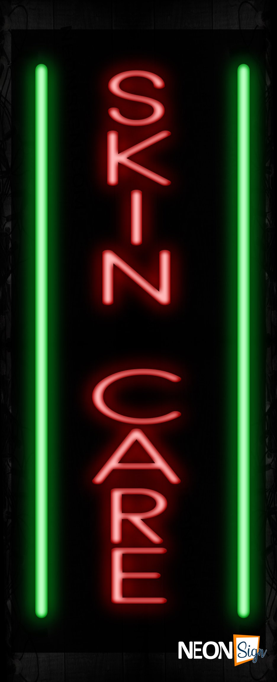 Image of Skin Care With Green Lines (Vertical) Neon Sign