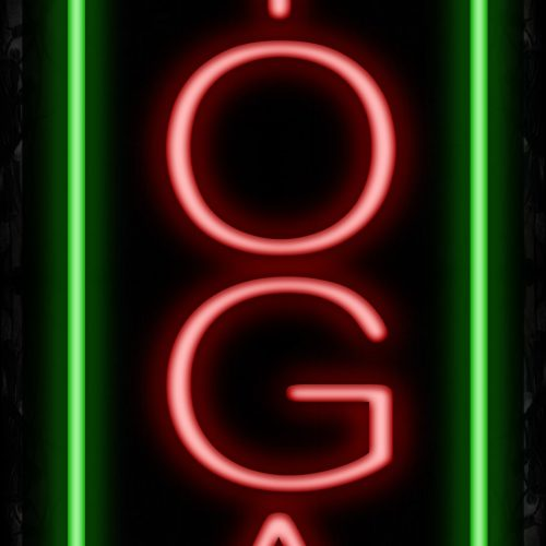 Image of Yoga In Red With Green Border (Vertical) Neon Sign