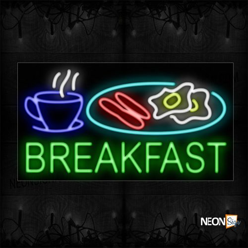 Image of 11667 Breakfast With Food In Plate & Mug Neon Sign_20x37 Black Backing