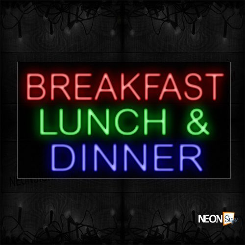 Image of 11669 Breakfast Lunch & Dinner Neon Sign_20x37 Black Backing