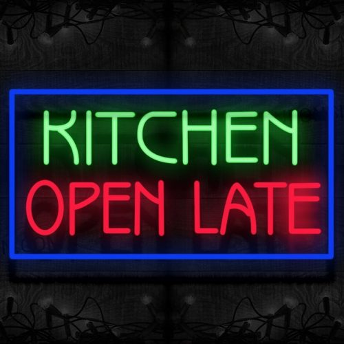 Image of Kitchen Open Late With Blue Border Neon Sign