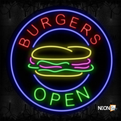 Image of 11807 Burgers Open With Logo And Circle Blue Border Neon Sign_26x26 Black Backing
