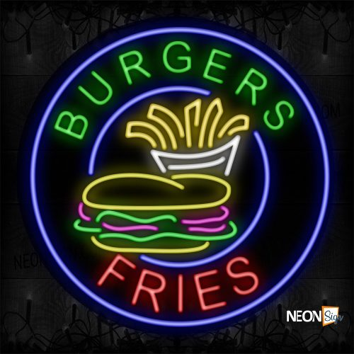Image of 11808 Burgers Fries And Logo With Blue Circle Border Neon Sign_26x26 Black Backing