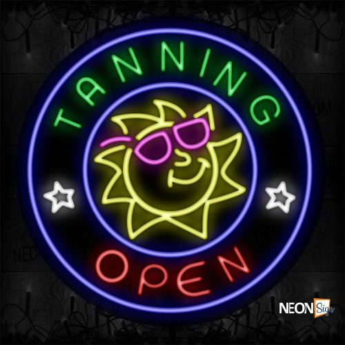 Image of Tanning Open With Sun Logo And Blue Circle Border Neon Sign