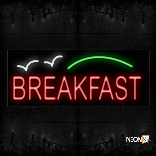 Image of 12025 Breakfast In Red Neon Sign_10x24 Black Backing