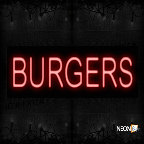 Image of 12028 Burgers With Border Neon Sign_10x24 Black Backing