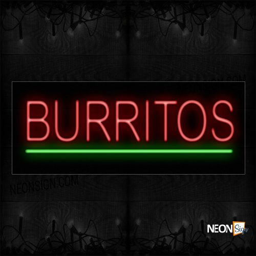 Image of 12029 Burritos In Red With Green Line Neon Sign_10x24 Black Backing