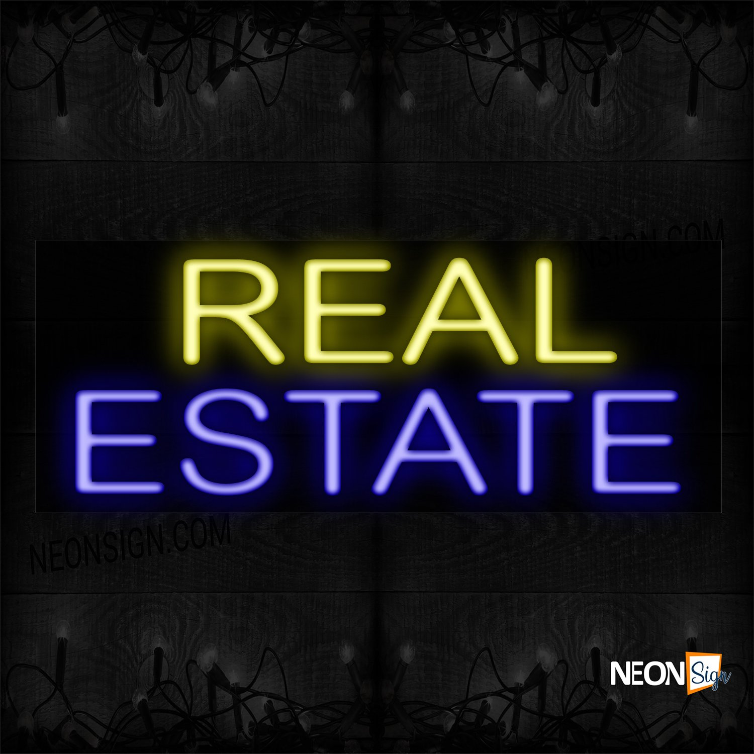 Image of 12143 Real Estate Neon Sign_10x24 Black Backing