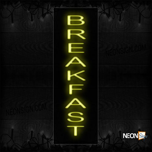 Image of 12206 Breakfast In Yellow (Vertical) Neon Sign_8x29 Black Backing