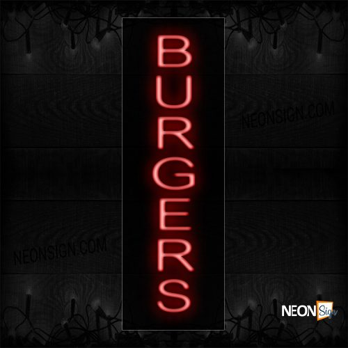 Image of 12208 Burgers In Red (Vertical) Neon Sign_8x24 Black Backing