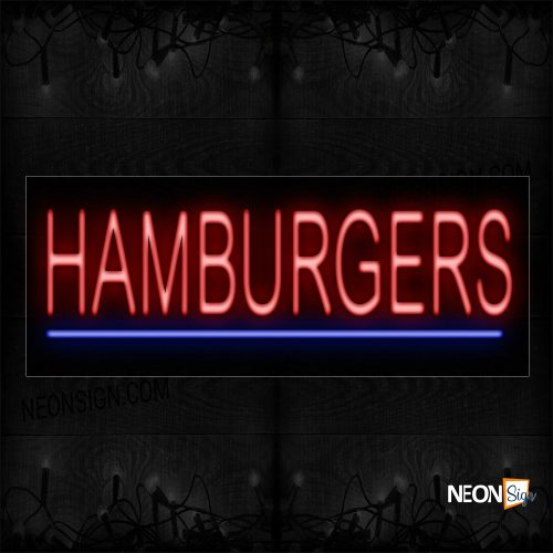 Image of 12376 Hamburgers With Underline Neon Sign_10x24 Black Backing
