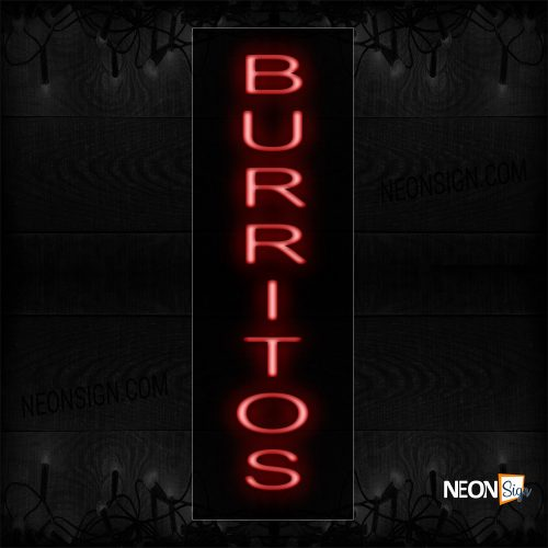 Image of 12417 Burritos In Red (Vertical) Neon Sign_8x27 Black Backing
