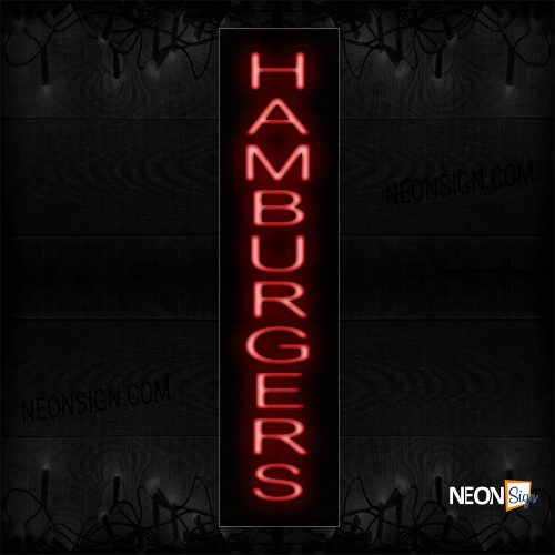 Image of 12441 Hamburgers (Vertical) Neon Sign_8x24 Black Backing