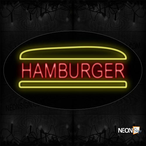 Image of 14047 Hamburger With Bun Sign Neon Sign_17x30 Black Backing