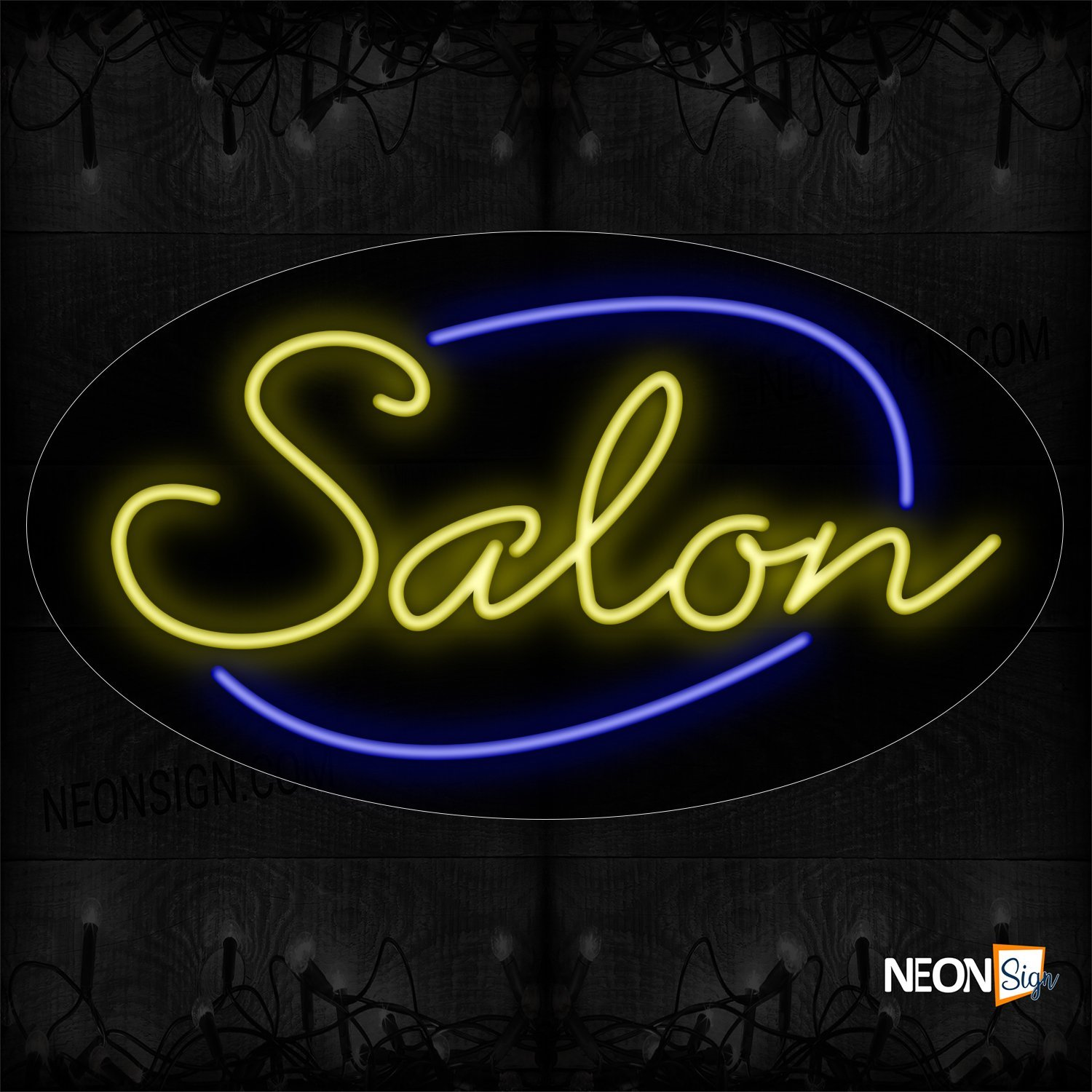 Image of Salon In Yellow With Blue Arc Border Neon Sign