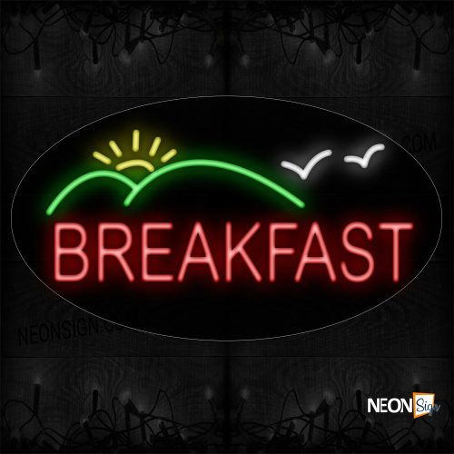 Image of 14091 Breakfast With Mountain Logo Neon Sign_17x30 Contoured Black Backing