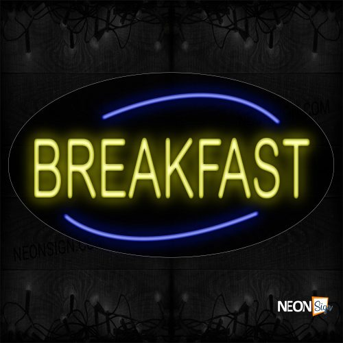 Image of 14161 Breakfast In Yellow With Blue Arc Border Neon Sign_17x30 Contoured Black Backing