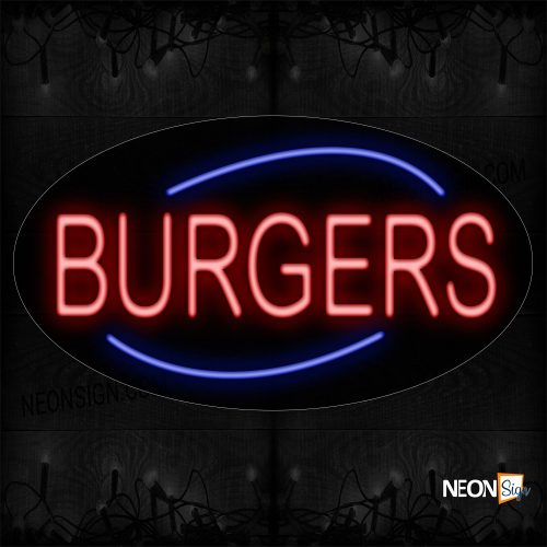 Image of 14164 Burgers With Arc Border Sign Neon Sign_17x30 Black Backing