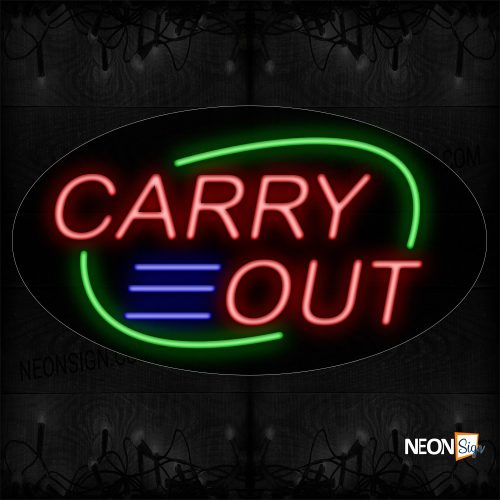 Image of 14172 Carry Out With Green Arc Border Neon Sign_17x30 Black Backing