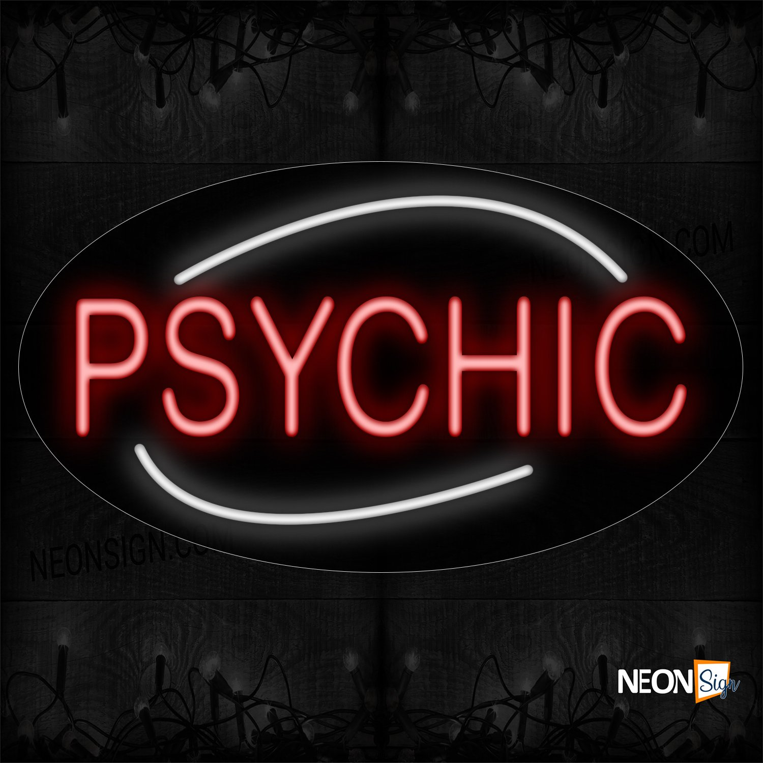 Image of 14281 Psychic In Red With White Arc Border Neon Sign_17x30 Black Backing
