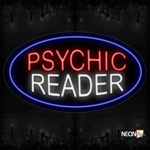 Image of 14283 Psychic Reader With Oval Blue Border Neon Sign_17x30 Black Backing