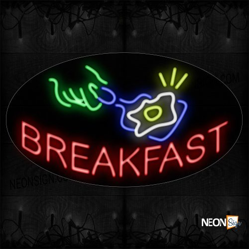 Image of 14329 Breakfast In Red With Log Neon Sign_17x30 Contoured Black Backing