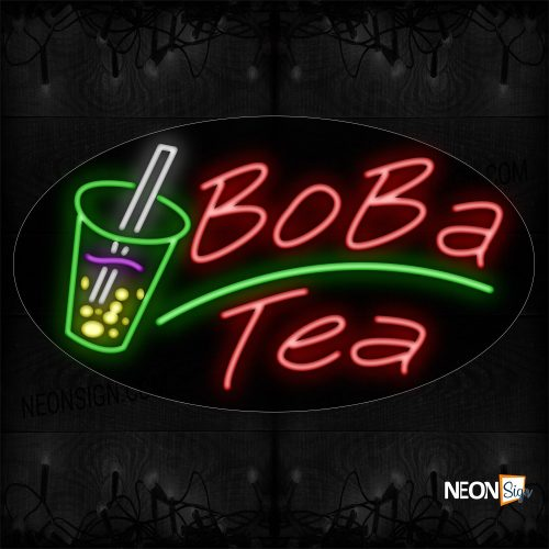 Image of Boba Tea With Green Line And Glass Neon Sign