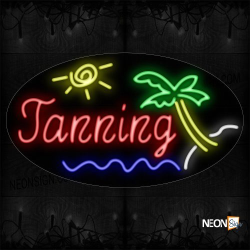 Image of Tanning With Palm Tree, Beach And Sun Neon Sign