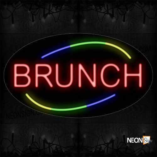 Image of Brunch In Red With Colorful Arc Border Neon Sign