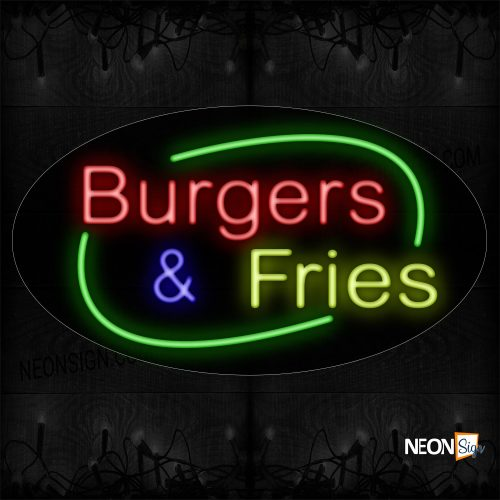 Image of 14502 Burgers & Fries With Arc Border Neon Sign_17x30 Black Backing