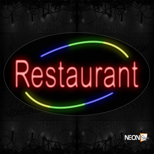 Image of Restaurant With Arc Border Neon Sign