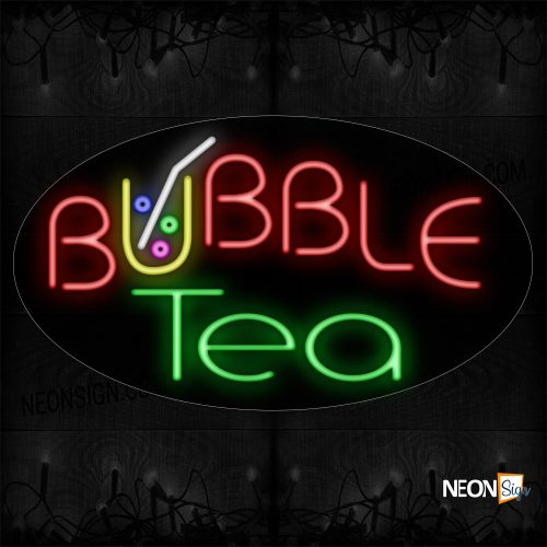 Image of Bubble Tea With Colorful Logo Neon Sign