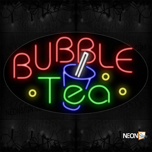 Image of Bubble Tea With Logo Neon Sign