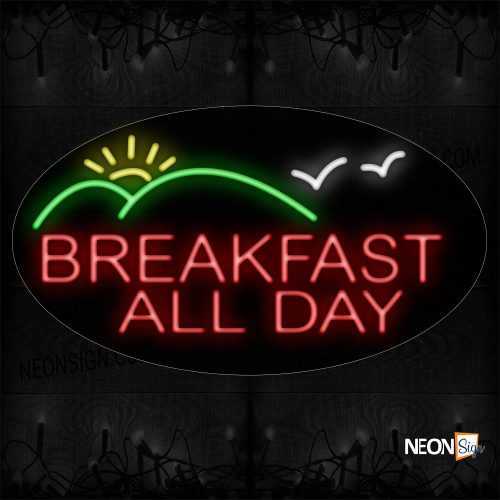 Image of 14575 Breakfast All Day With Logo Neon Sign_17x30 Contoured Black Backing