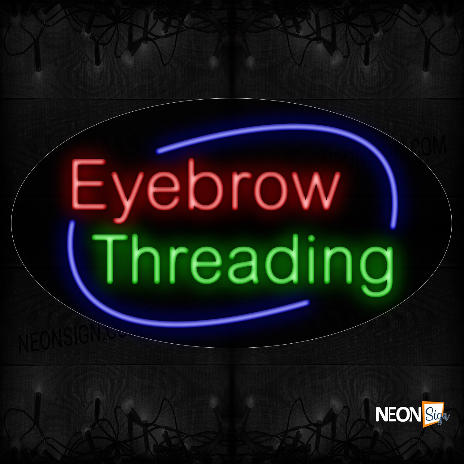 Image of Eyebrow Threading With Blue Arc Border Neon Sign