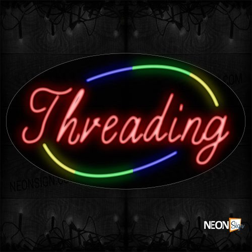 Image of Threading In Red With Colorful Arc Border Neon Sign