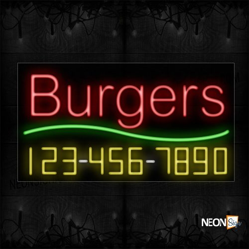 Image of 15018 Burgers And Phone Number With Green Line Neon Sign_20x37 Black Backing