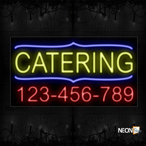 Image of 15022 Catering And Phone Number With Blue Border Neon Sign_20x37 Black Backing