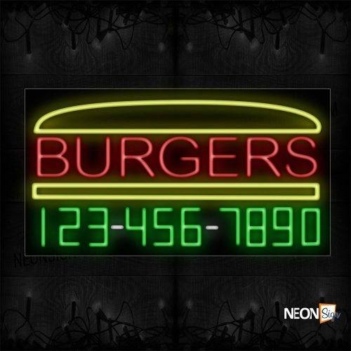 Image of 15052 Burgers And Phone Number With Yellow Border Neon Sign_20x37 Black Backing
