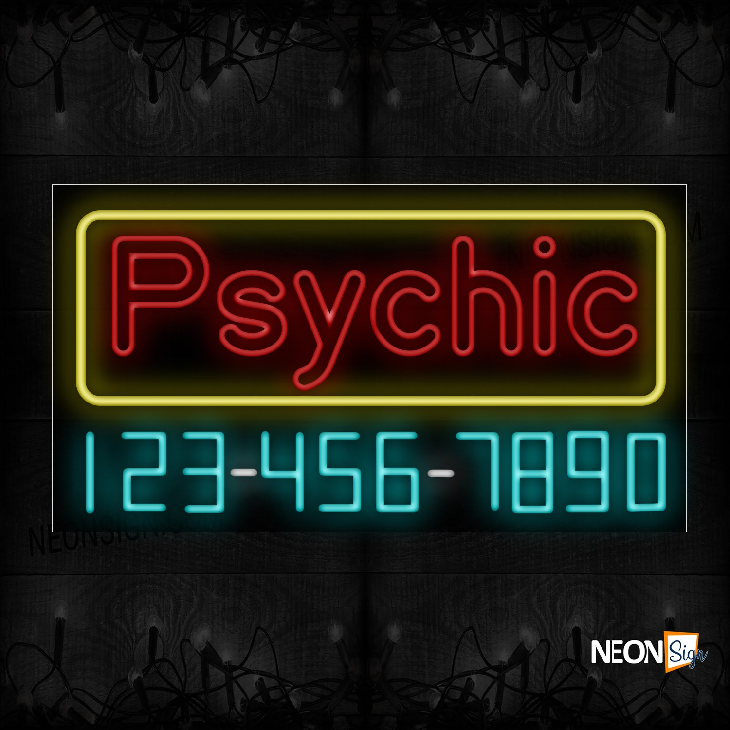 Image of 15099 Psychic With Border And Contact No Neon Sign_20x37 Black Backing