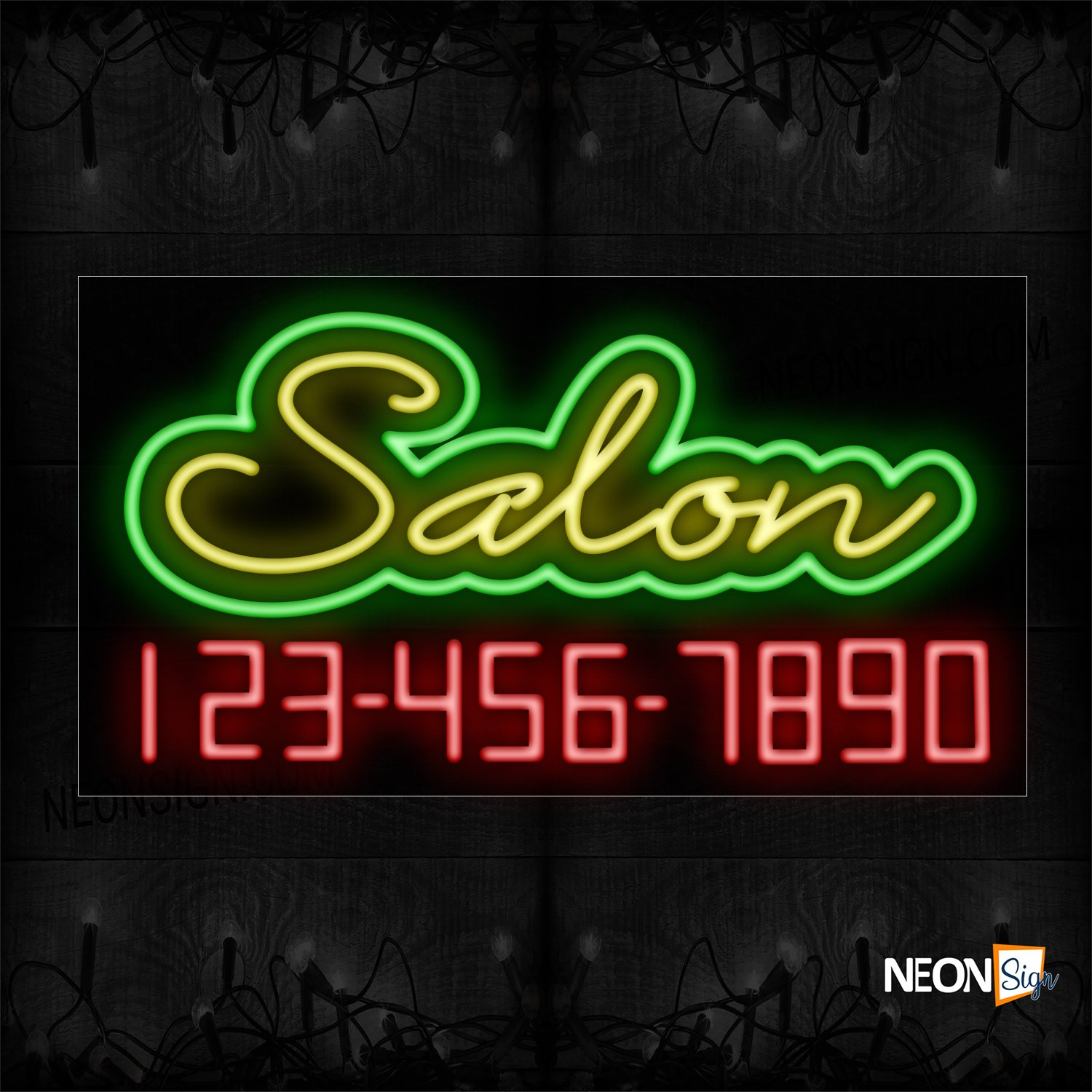 Image of Salon With Contact No Neon Sign