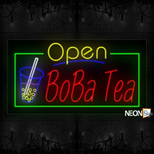 Image of Open Boba Tea With Border Neon Sign